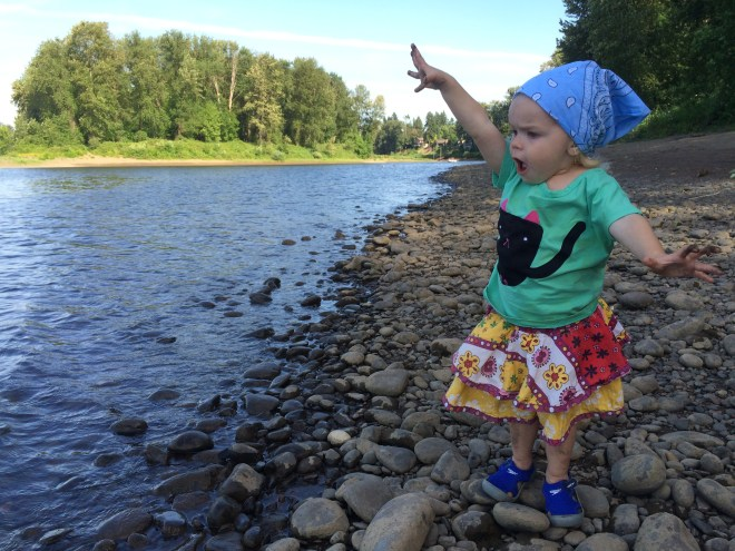 Throwing rocks into the Willamette River