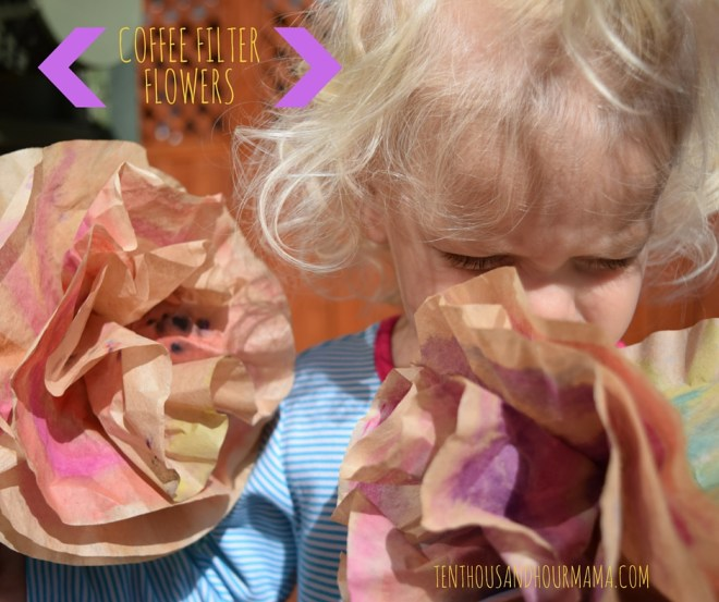 Toddler craft coffee filter flower bouquet