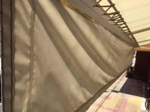 Q's老人ホーム 洗浄前のテント 拡大裏