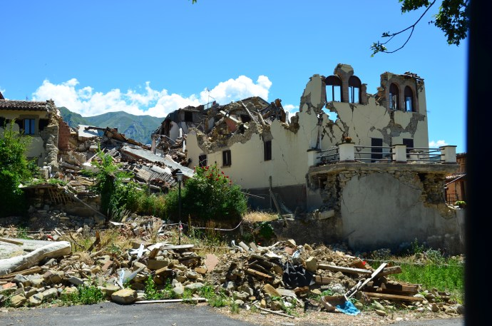 Earthquake-destroyed home in the Italian village of Amatrice