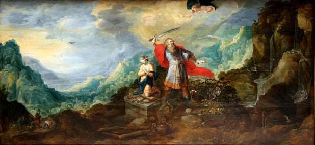 Frans Francken II (1581-1642): 'Landscape with Abraham's Offering'