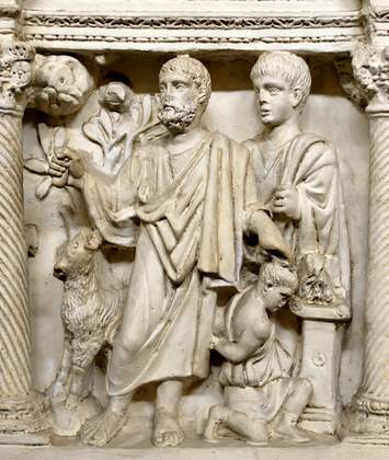 Sarcophagus of Junius Bassus (detail of the Sacrifice of Isaac)