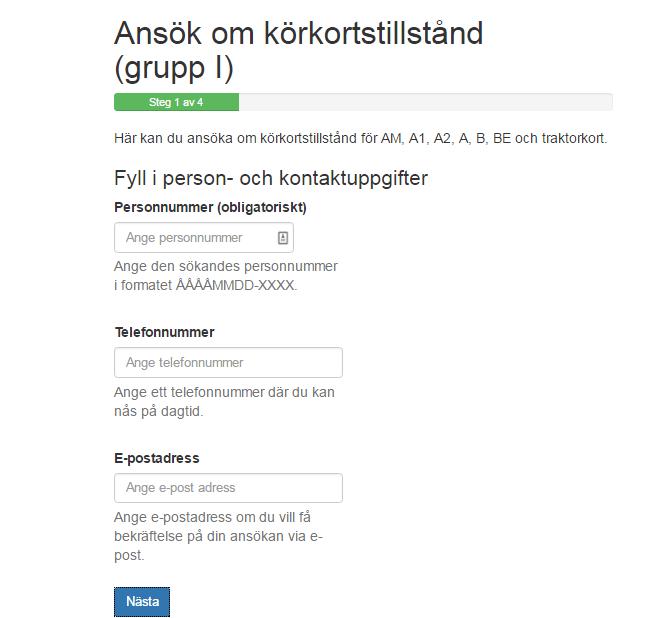 طريقة طلب موافقة رخصة القيادة عبر الأنترنت Körkortstillstånd