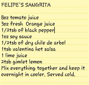 Felipe's signature recipe for homemade sangrita.