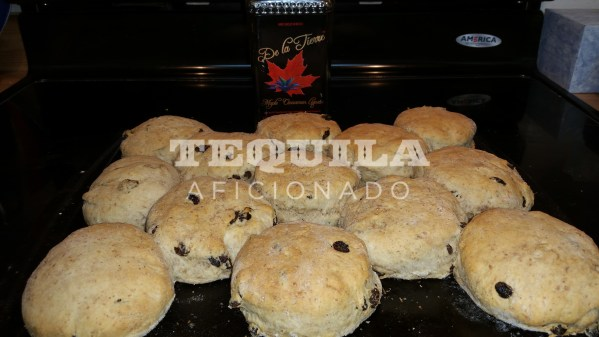 De La Tierre Maple Cinnamon Tequila Liqueur makes a wonderful scone for brunch pairing or cocktail hour. Get the recipe at www.TequilaAficionado.com de la tierre, maple tequila, maple, cinnamon, raisin, scones, tequila scones