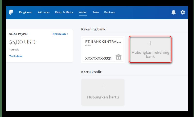 menambahkan rekening bank di paypal