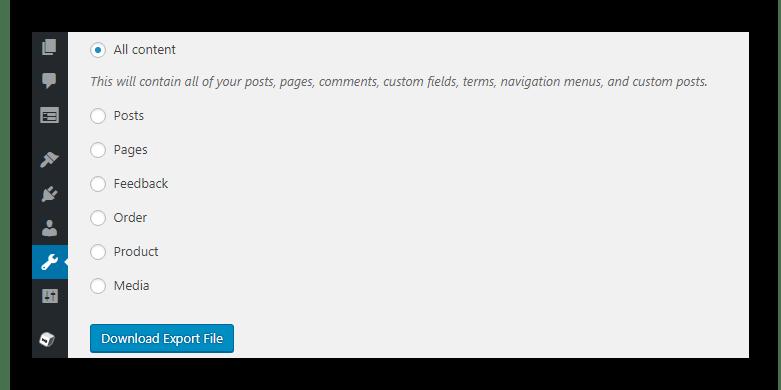 Backup data WordPress