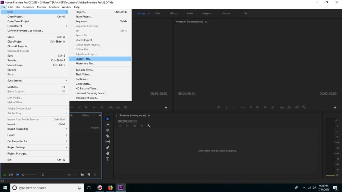 Solusi menu Title Adobe Premier Pro hilang atau tidak ada