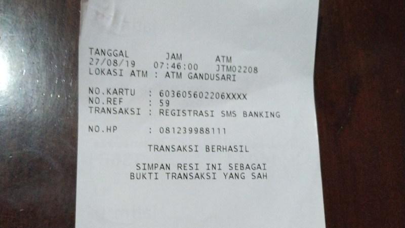 Registrasi SMS Banking Bank Jatim