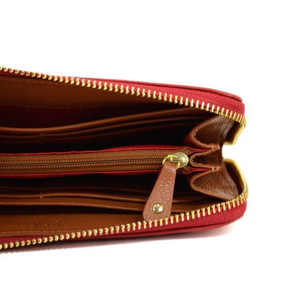 Billetera roja en cuero