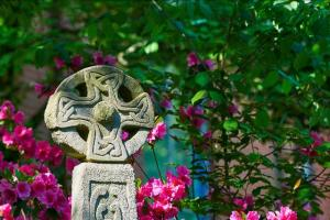 Celtic Cross with lovely flowers