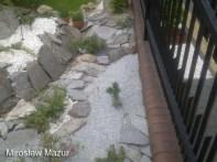 ogród skalny przy ogrodzeniu