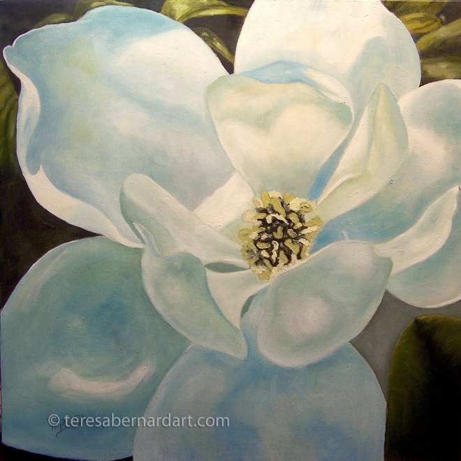 magnolia blossom close up painting