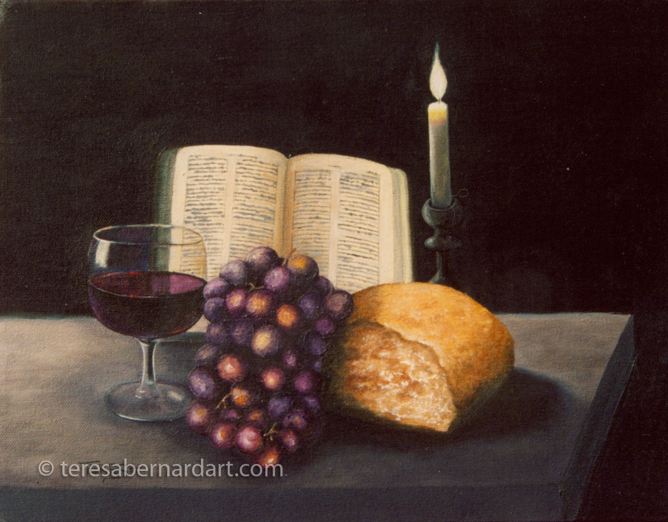 the communion table still life painting | teresa bernard oil paintings