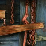 Barn Door with Horse Tack oil painting