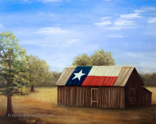 Texas Flag Barn landscape painting