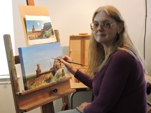 artist Teresa Bernard in the art studio