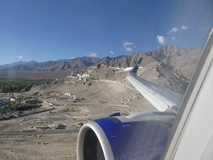 Flying into Leh Stark Terrain, Monasteries perched atop rocky outcrops