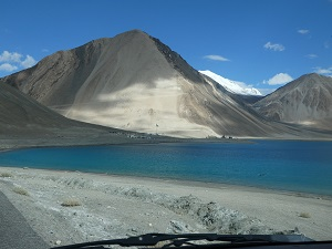 Towards the road entrance of Pangong Tso