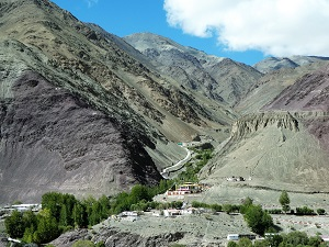 Side valley, purple rock, monastery, Ladakh, India