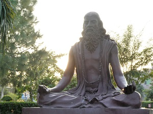 Author of the Yoga Sutra's Maharishi Patanjali statue outside the Ayurvedic hospital in Haridwar, India