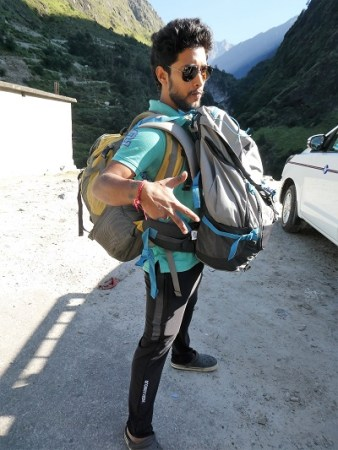 Kartik, packed and ready to go - Govind Ghat, beginning of Valley of Flowers Trek, Himalayan India
