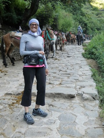 Shoba at the beginning of the trek to Gangaria base camp to the VOF. Phyllis and Shona on horses up ahead