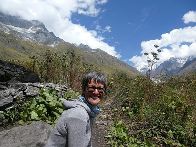 Shoba's smile could not be bigger for having reached the destination of the Valley of Flowers, Himalayan India
