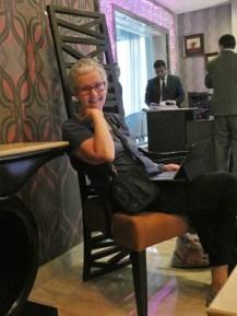 Shona enjoying some relaxation in the hotel in Delhi