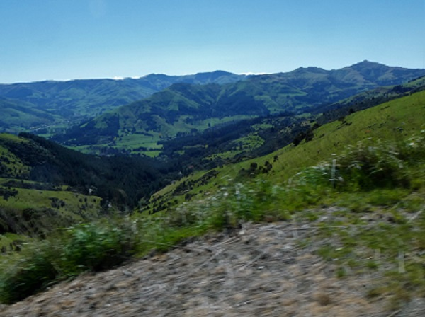 Banks Peninsula hills and little river below from the tops, Canterbury NZ