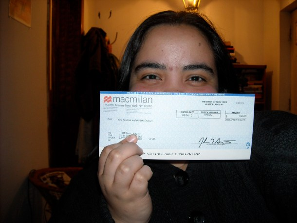 Celebrating my first paycheck as a professional writer for Tor.com. January 2010