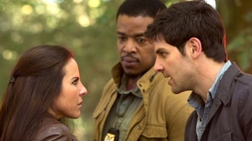 "Kate del Castillo, Russell Hornsby, and David Giuntoli in the ""La Llorona"" episode of Grimm"