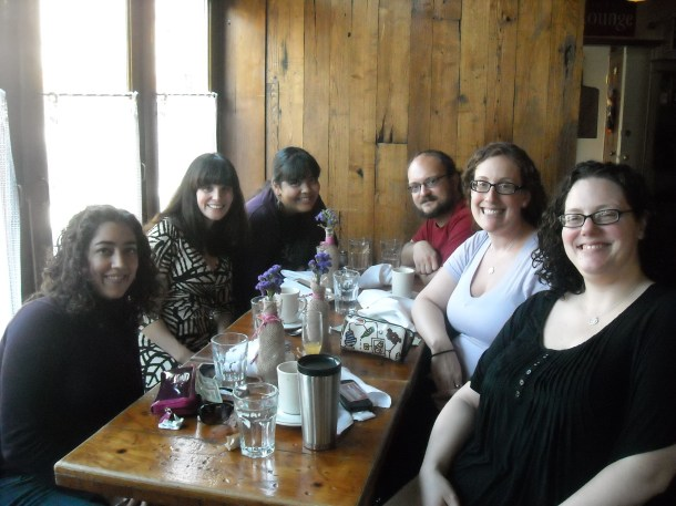 Katie, Jean, Me, The Boy, Robin, and Liz at Brick Cafe.