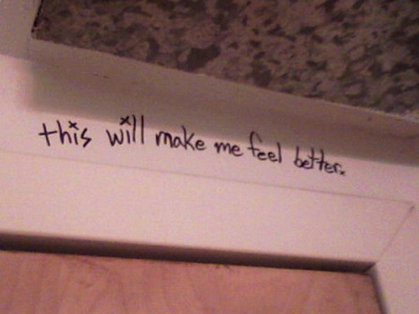Taken in a random public restroom. Sometimes you need to write (on a wall) to feel better.