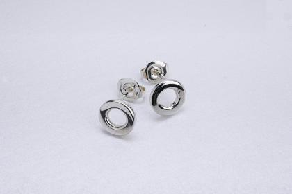 chunky silver polka dot studs