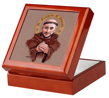 Saint Francis of Assisi Keepsake/Rosary Box by Teresa Satola, Ltd.