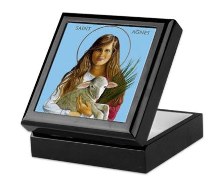St. Agnes Keepsake/Rosary Box, blk