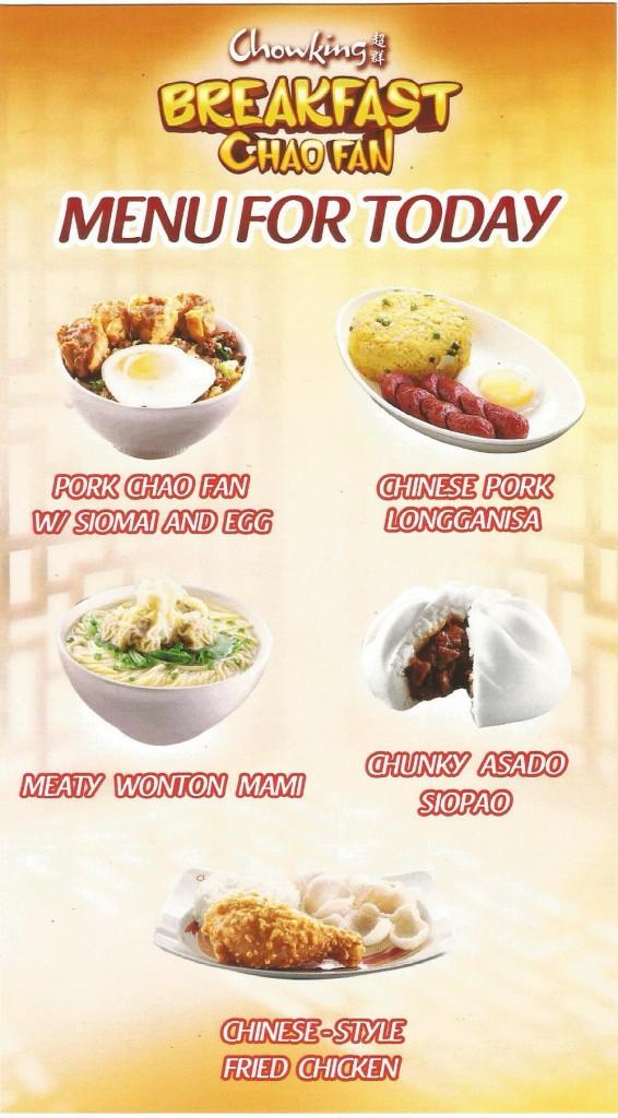 Chowking Philippines Menu Price List