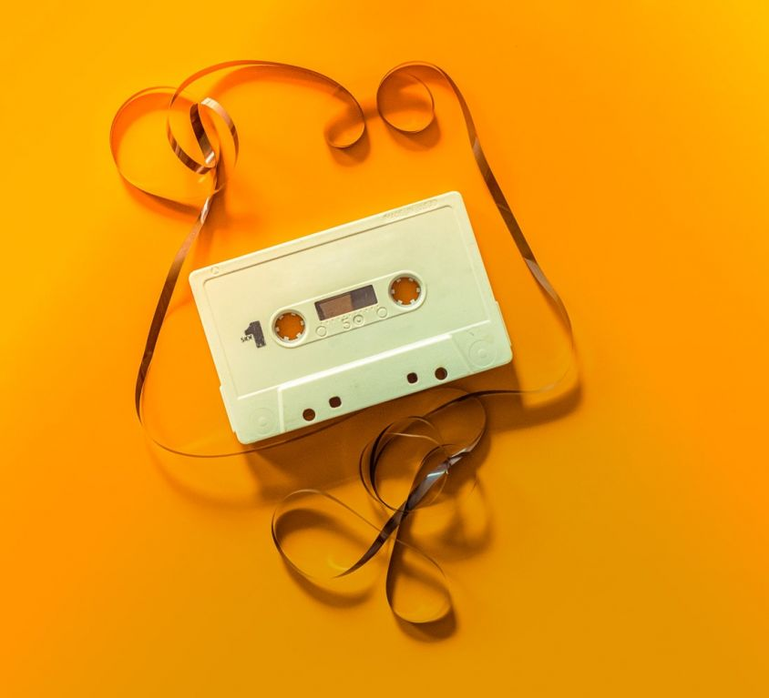 cassette tape on orange background