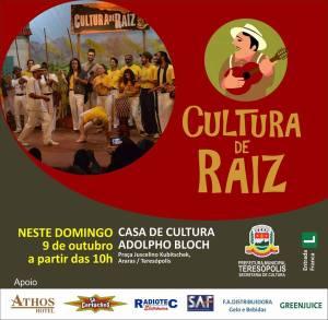 Cultura de Raiz volta a se apresentar neste domingo, 9, na Casa de Cultura