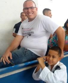 Otávio Henrique Rosa e o filho Caio, de 9 anos, do projeto social Blindando Vidas, de Guadalupe/Rio de Janeiro, participaram do evento esportivo