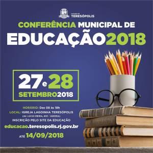 TERESÓPOLIS REALIZA CONFERÊNCIA DE EDUCAÇÃO NOS DIAS 27 E 28 DE SETEMBRO
