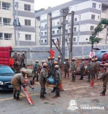 Corpo de Bombeiros em treinamento