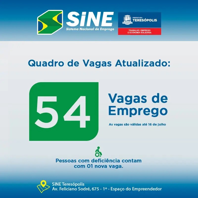 Sine Teresópolis tem 54 vagas de emprego disponíveis