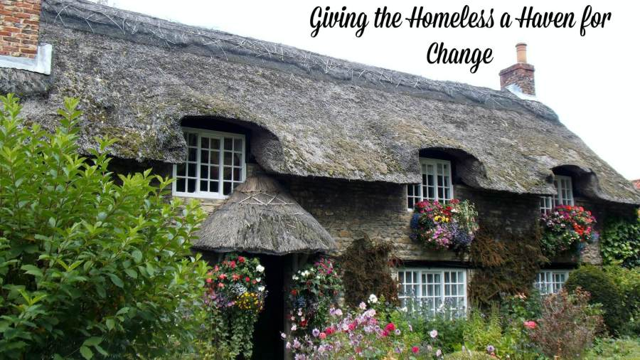 thatched roof house with title Giving the Homeless a Haven for Change