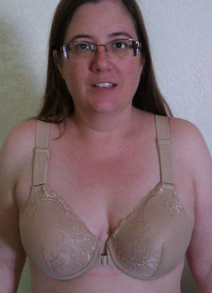 picture of the author, facing forward, wearing a bra