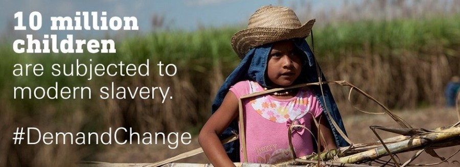 little girl collecting wood with title 10 million children are subjected to modern slavery #DemandChange