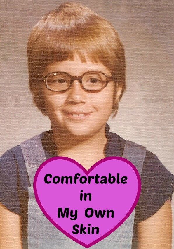 "photo of the author at age 8 with the title ""Comfortable in My Own Skin"""
