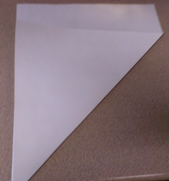 a sheet of 8 1/2 x 11 paper with one corner folded to the opposite side