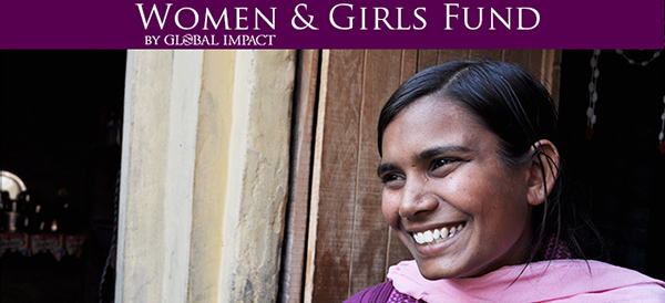 "smiling girl under the title ""Women & Girls Fund by Global Impact"""